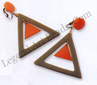 An interesting take on the hoop earring, the contrasting colours and geometric elements of these triangle earrings are typical of swinging-Sixties style.