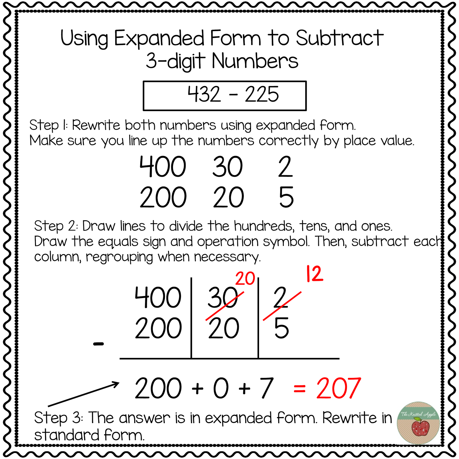 Whos who and whos new using expanded notation to regroup regroup in order to solve the benefits i noted above still apply but students do need to subtract beginning with the ones and moving to the hundreds falaconquin