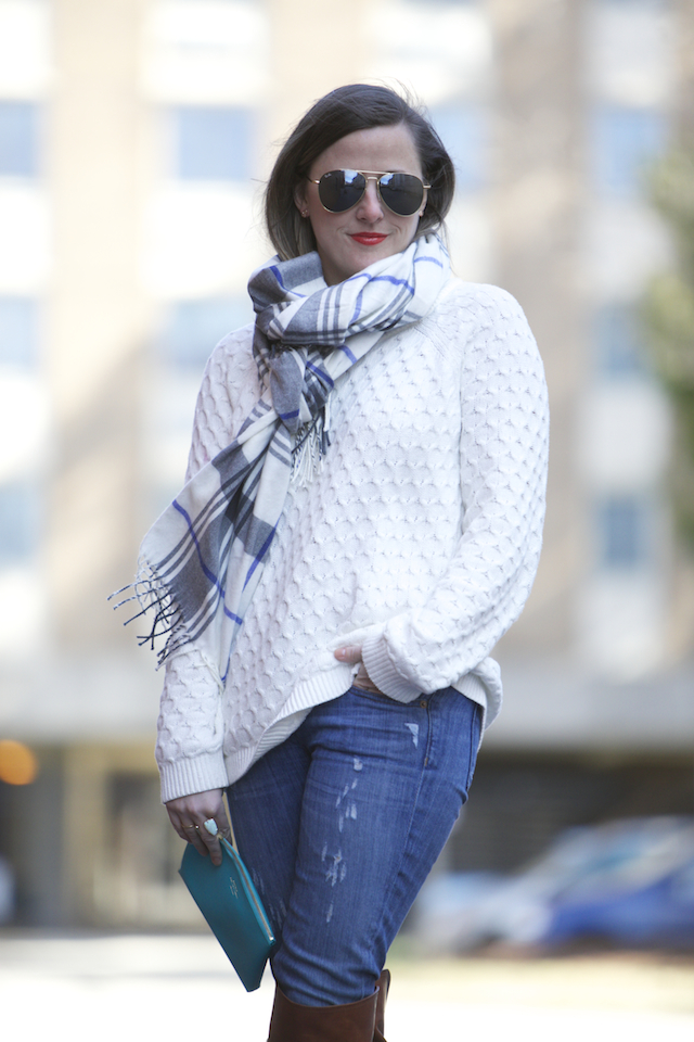 Plaid Scarf Cable Knit Sweater NC Style Blog Southern Arrondissement
