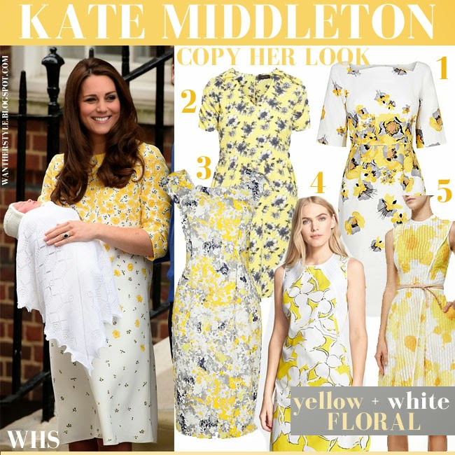 Kate Middleton in white and yellow floral print dress with her daughter copy her look collage get the look what she wore may 2 2015