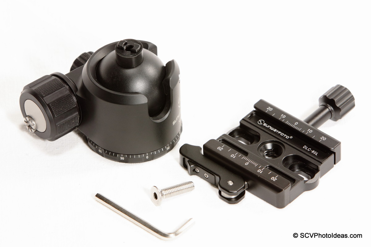 Sunwayfoto DLC-60L Duo QR Clamp w/ XB-44 LP Ball head + tools