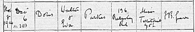 A baptism entry for Doris Parkes, daughter of Walter and Eva of 136 Barnsley Road,Cudworth on 6 Dec 1914.