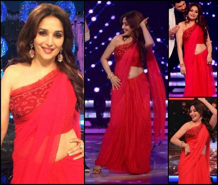 Madhuri Dixit hot pics 2014 in red saree hot dance with her co-judge in jhalak dikhhla jaa 7
