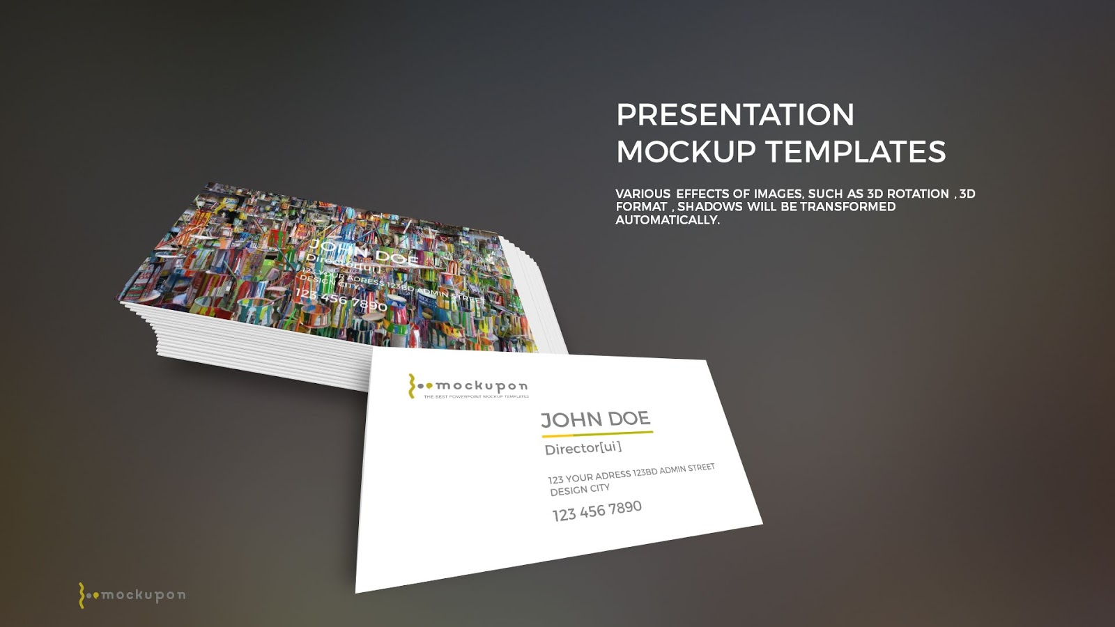 free powerpoint template with business card mockup infographicon