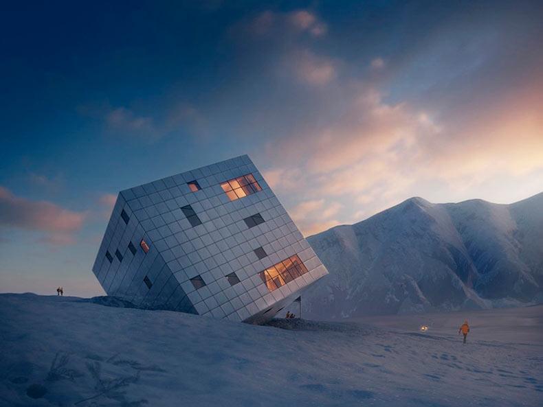 Albergue sostenible en forma de cubo se encuentra en las altas montañas de Eslovaquia