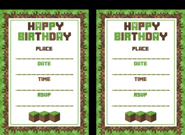 Żółty balonik: Minecraft - zaproszenia