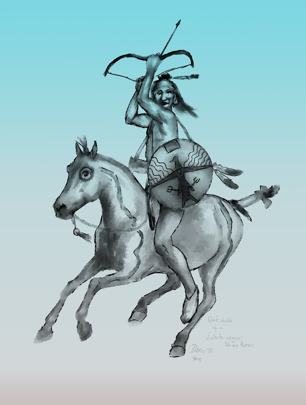 Dariusz caballeros: Plains Indians sketches - shield and armour