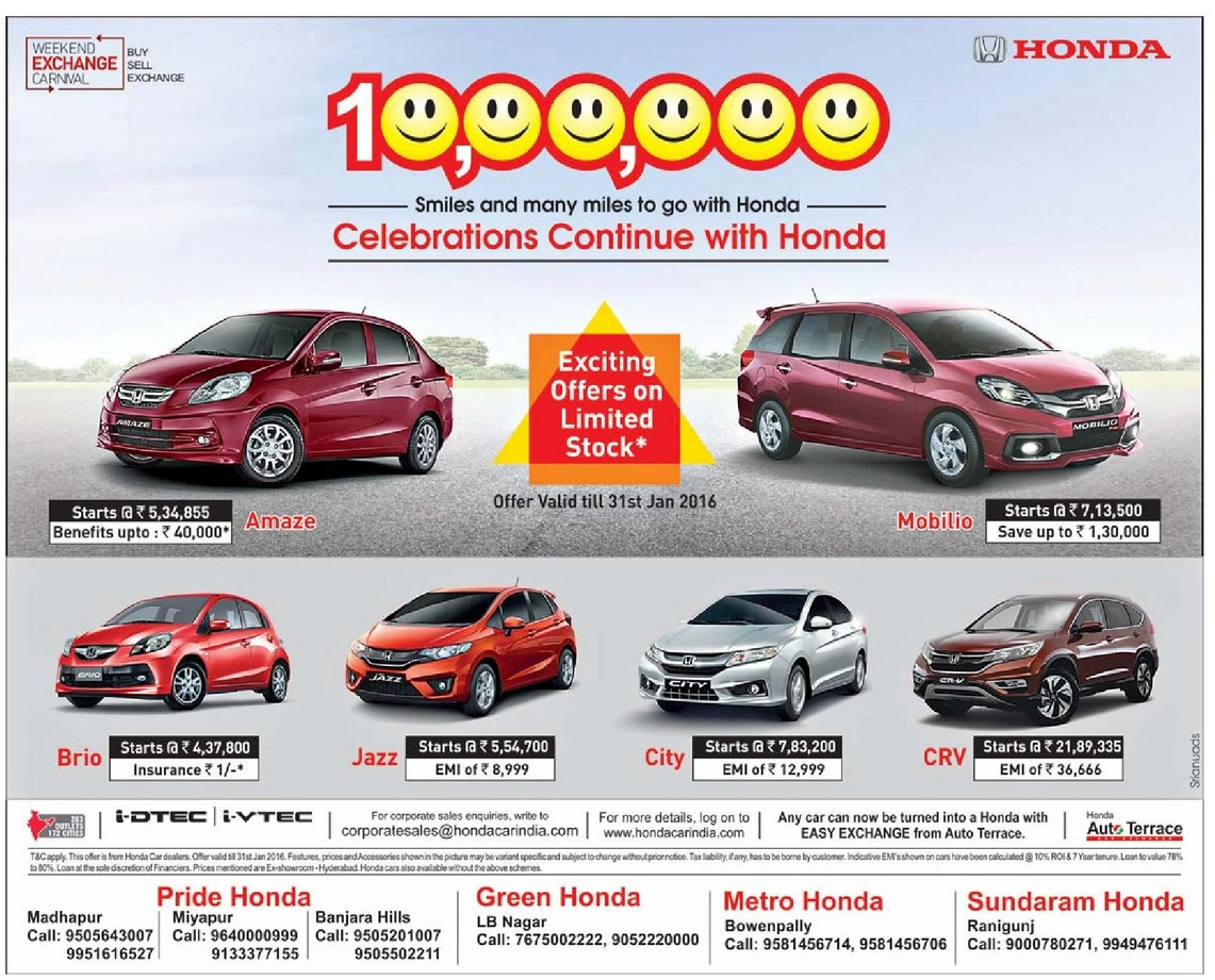 Honda Festive Discount Offers 2016
