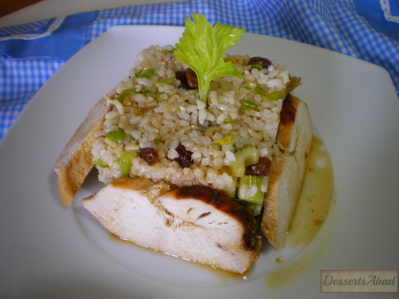 Pollo a la miel con arroz al apio