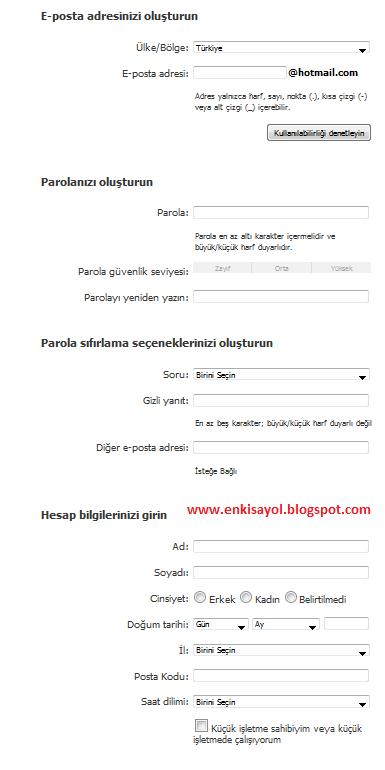 hotmail kaydol formu