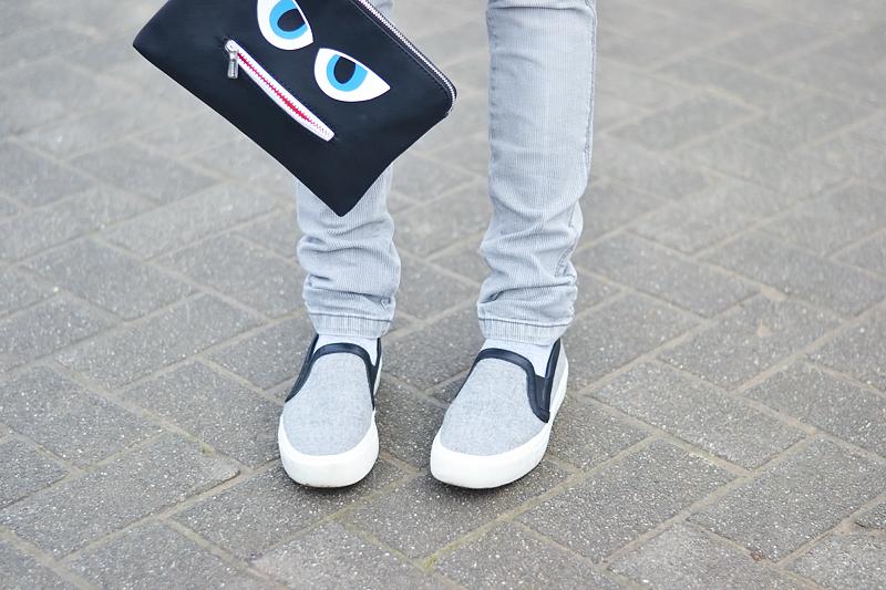Mango grey wool coat, wool jumper zara, white, grey jeans mango, grey slip on, wool, celine inspired, monster clutch, esprit, white hair, grey hair, monochrome, grey outfit