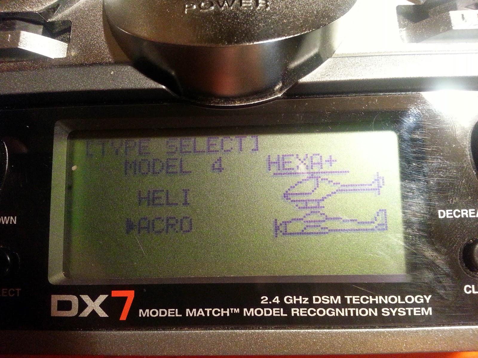 DX7 Settings - Photo | DJI F550 Hexacopter Naza V2 GPS, AR8000, DX7