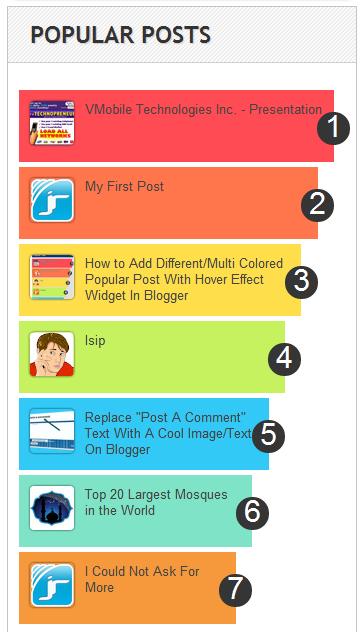 widget artikel populer dengan efek hover di blogspot