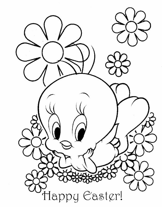 TWEETY PIE EASTER COLORING SHEET title=