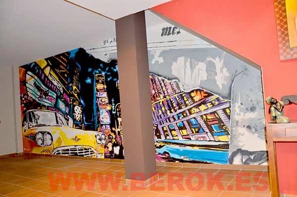 Graffiti ciudad Nueva York impresionista con colores llamativos