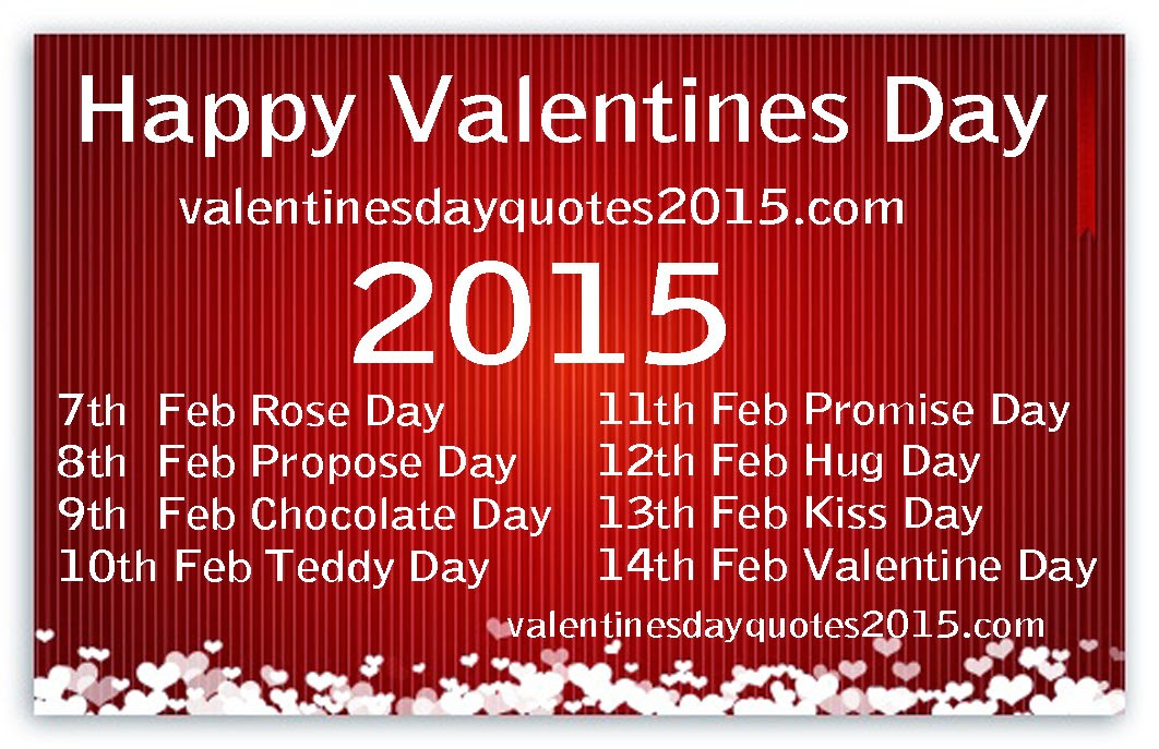 Happy Valentines Day week List 2016, Date and Schedule