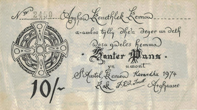 Cornwall currency a 10 shilling banknote