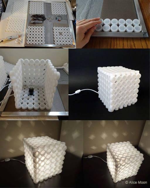 Manualidades recicladas como hacer manualidades con tapas - Como hacer una lampara de mesa ...