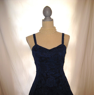 Vintage Strap Party Prom Dress, Deep Rich Blue and Sparkling Silver Tinsel Colors
