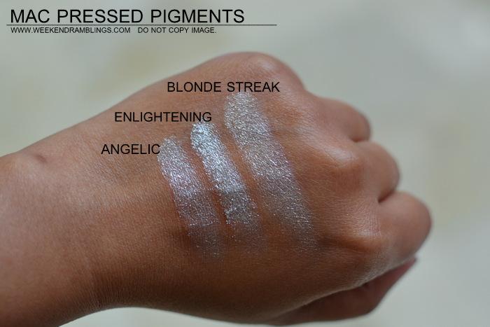 mac pressed pigments makeup collection indian beauty blog darker skin swatches eyeshadows angelic enlightening blonde streak