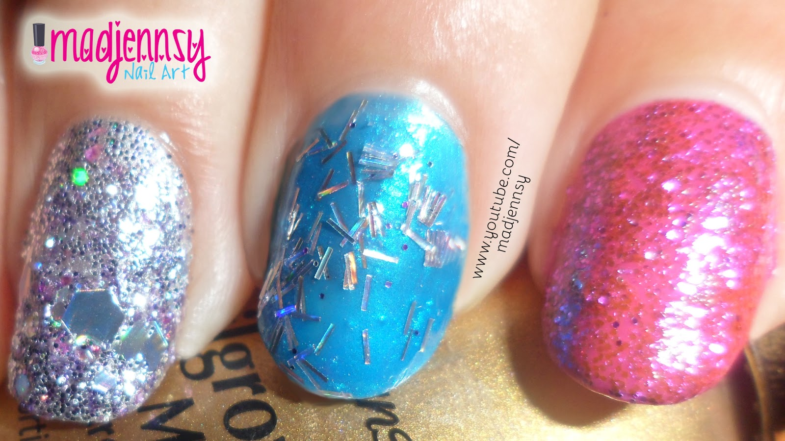 How To: Fine Glitter, Tinsel, Glitter Mix and Mylar on Natural Nails ...