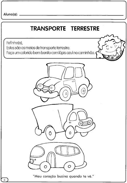 Atividades Sobre Meios De Transporte Para Educa    O Infantil