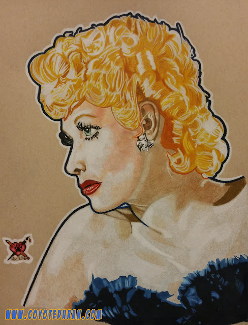 "Lucille Ball, 8 1/2"" X 11"", Prismacolor watercolor pencil on Strathmore toned tan paper"