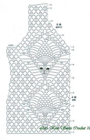 Схема вязания майки для девочки крючком