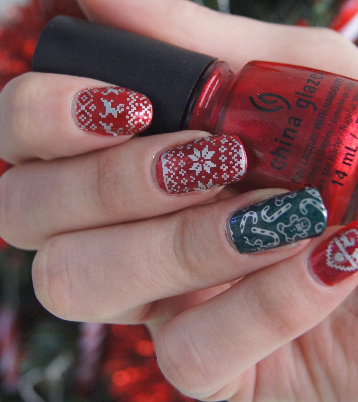 nail art noël stamping