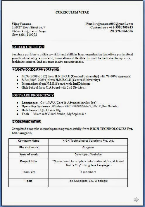 MCA Fresher CV Format Free Download – Resume Format for Mca