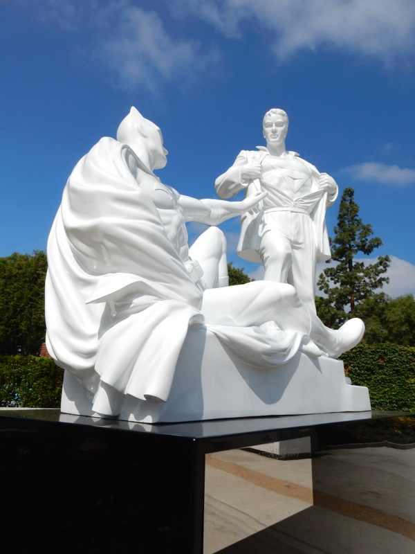 Batman Superman statue West Hollywood Park