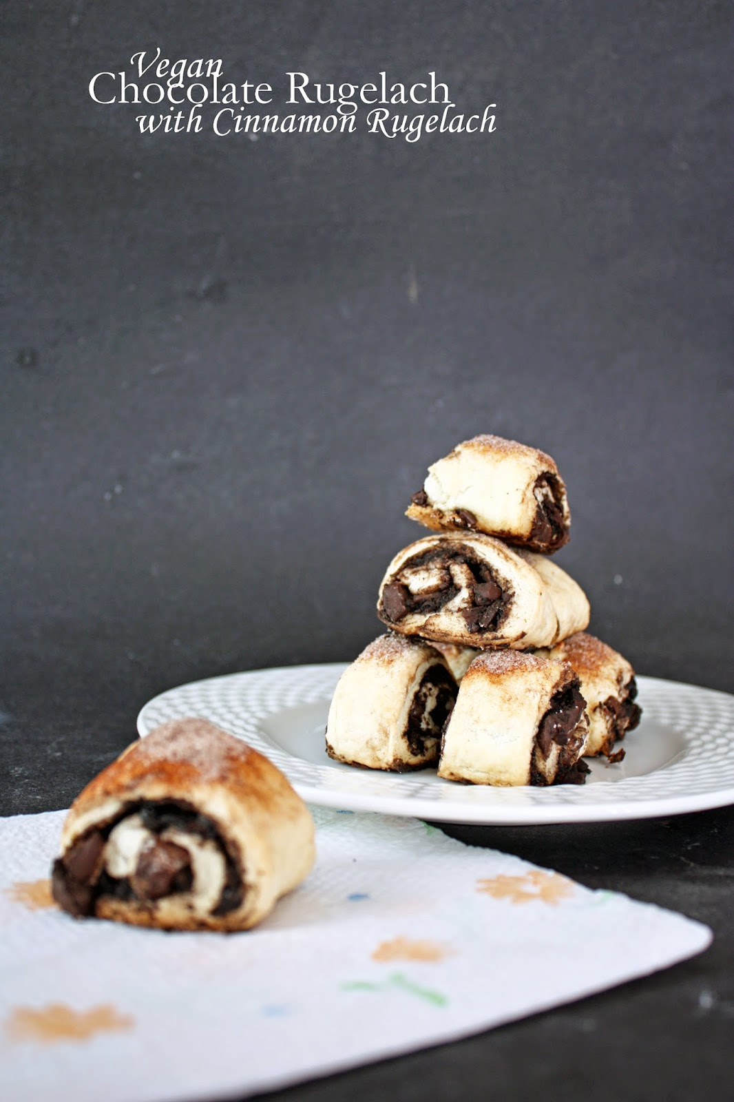 vegan chocolate rugelach with cinnamon sugar