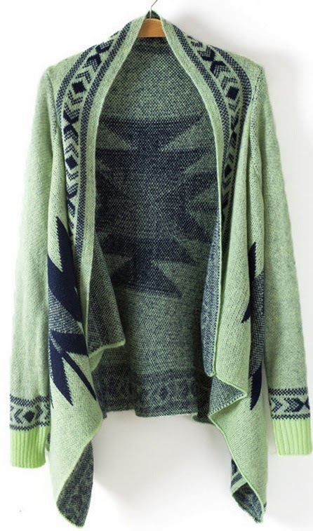 Lovely Green Sleeve Geometric Asymmetrical Cardigan