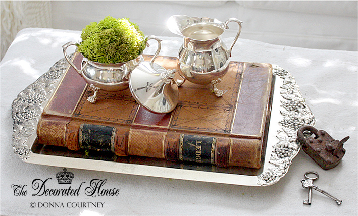 The Decorated House :: Vintage Silver with Moss and Antique Books, Rusty Lock and Skeleton Keys