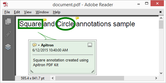 Pic. 4 Square and circle annotations added to PDF page