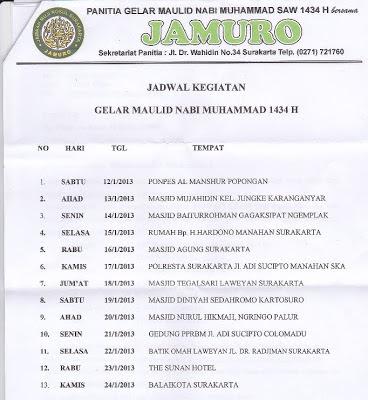 Jamuro, jadwal, maulid nabi muhammad