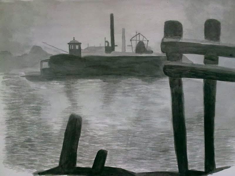 copia en tinta de una fotografia de un puerto
