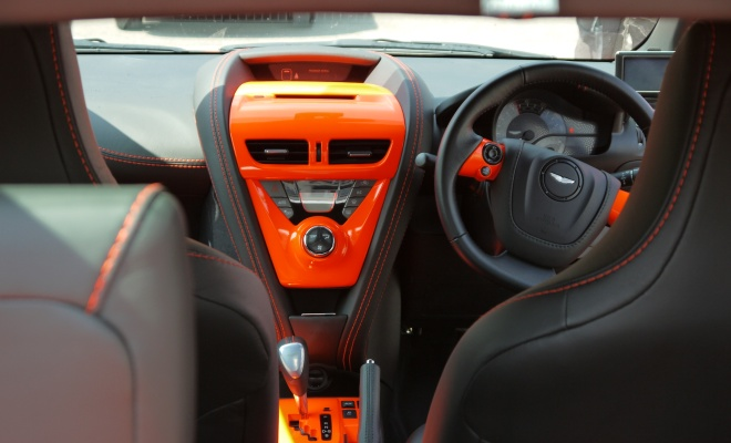 Aston Cygnet interior with bright orange trim
