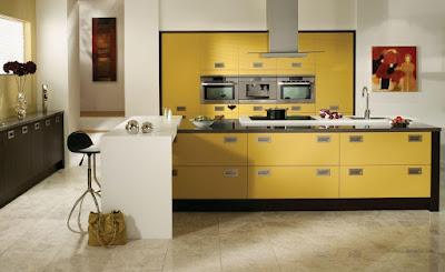 Interior Dapur dan Ruang Makan warna kuning