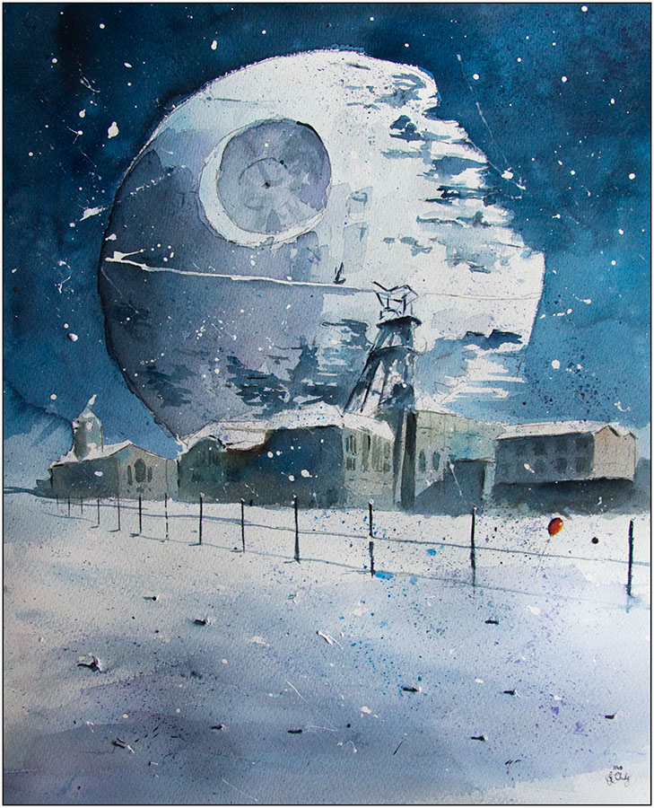 10-Death-Star-coal-mine-Grzegorz-Chudy-Paintings-of-Star-Wars-worlds-in-Watercolors-www-designstack-co