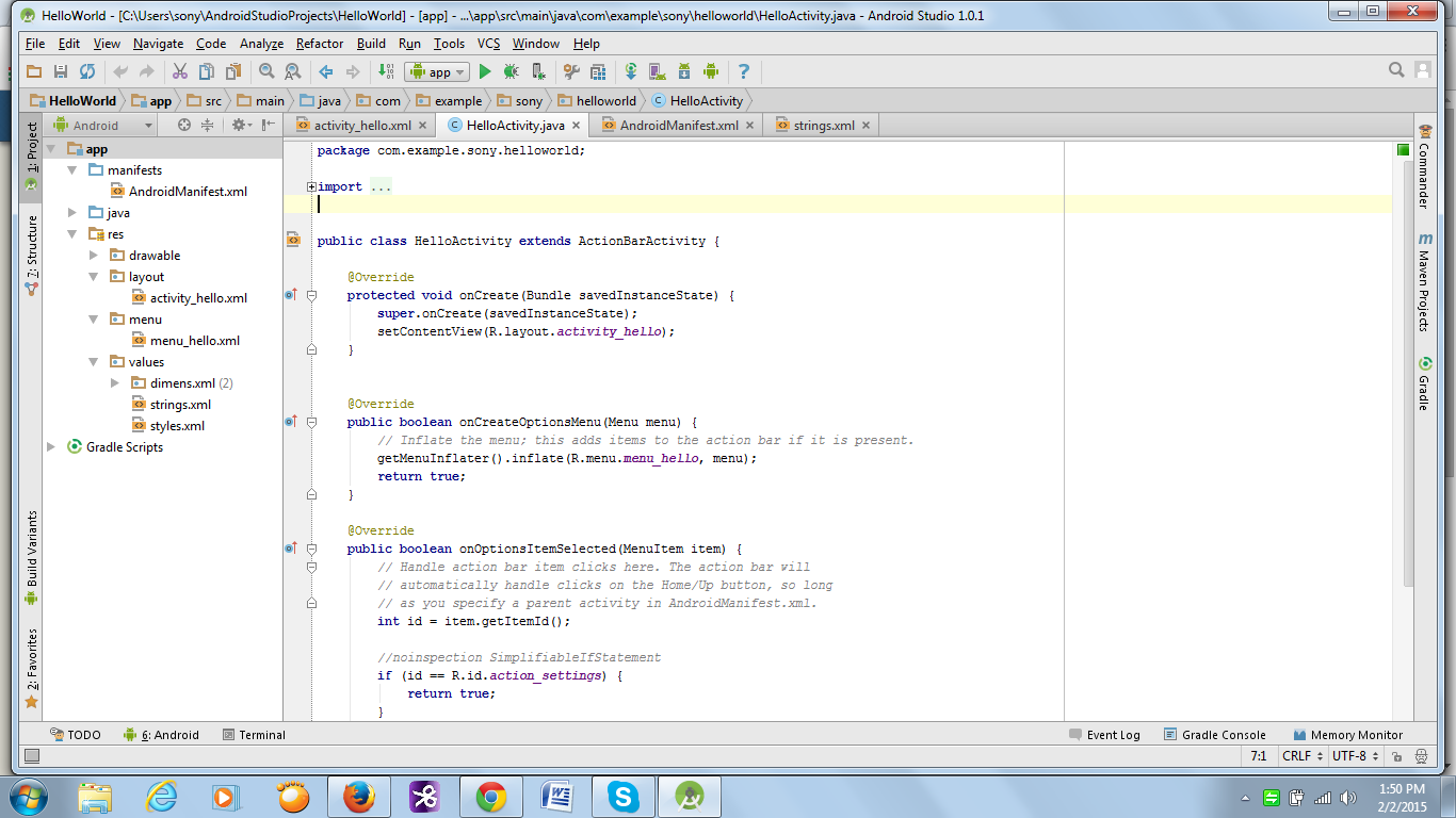 Hello World Android Studio