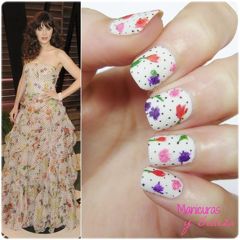 Nail art inspired Zooey Deschanel dress Vanity Fair Oscar 2014