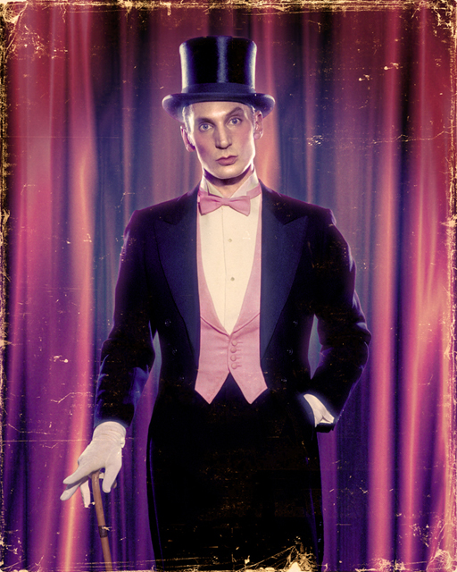 John Dobson top hat and tails self-portrait