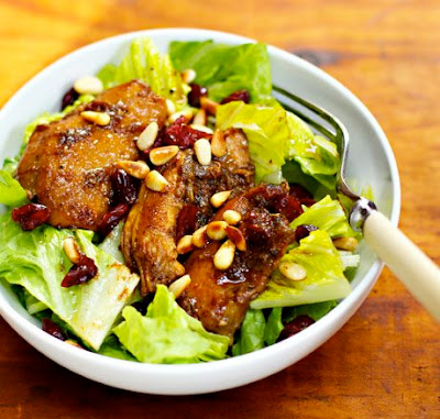 Slow Cooker Pomegranate Chicken Salad from The Perfect Pantry found on SlowCookerFromScratch.com