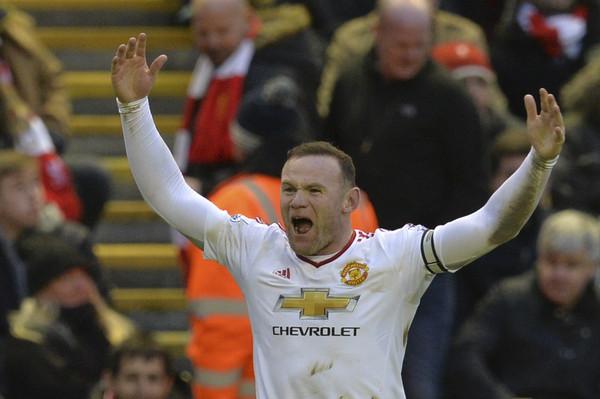 """alt=""""Aksi Wayne Rooney selepas menjaringkan gol . kredit gambar AFP / PAUL ELLIS """" />"""