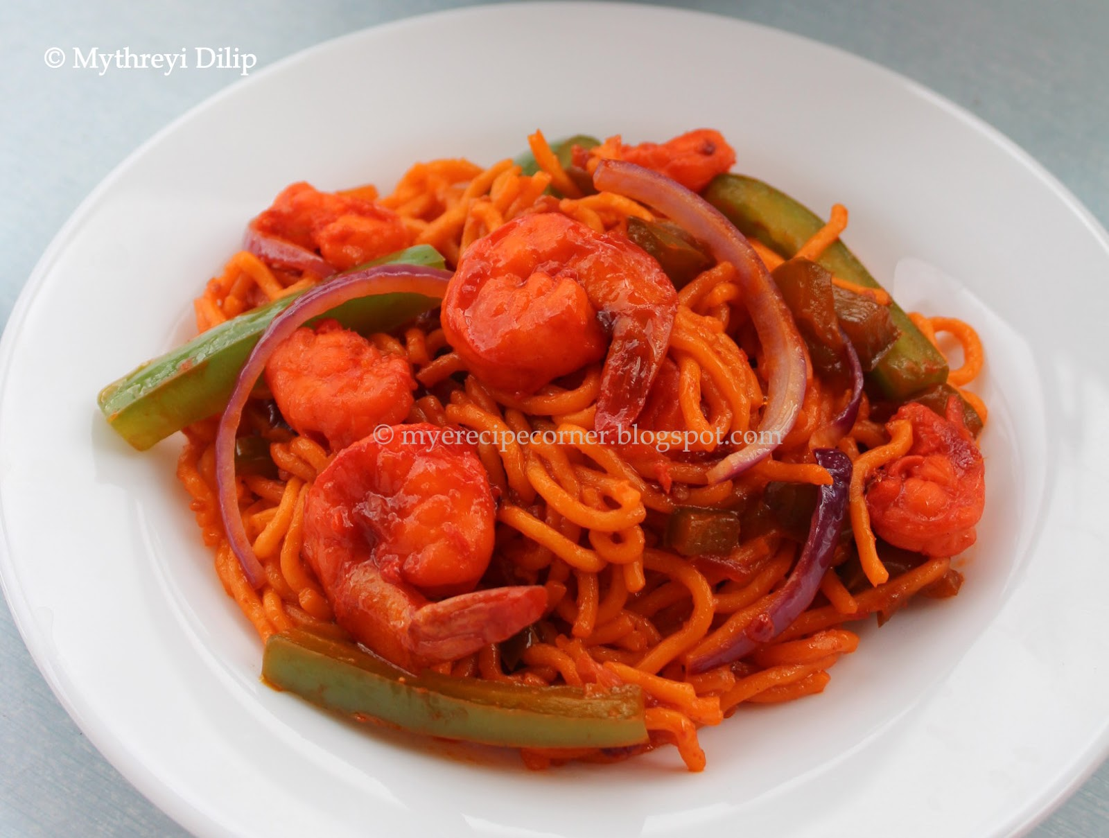 Mye s kitchen singapore prawn noodles chilli garlic prawn noodles