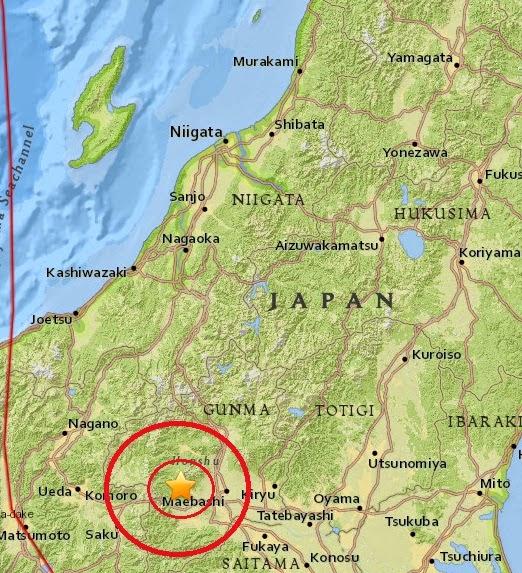 Magnitude 4.6 Earthquake of Annaka, Japan 2015-04-12