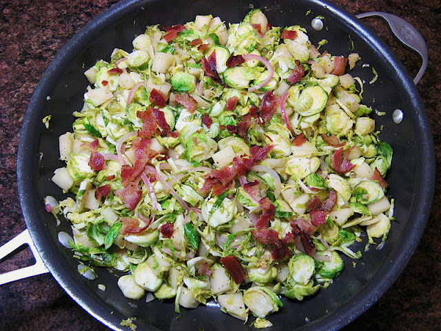The Well-Fed Newlyweds: Brussels Sprouts with Apples, Onions and Bacon