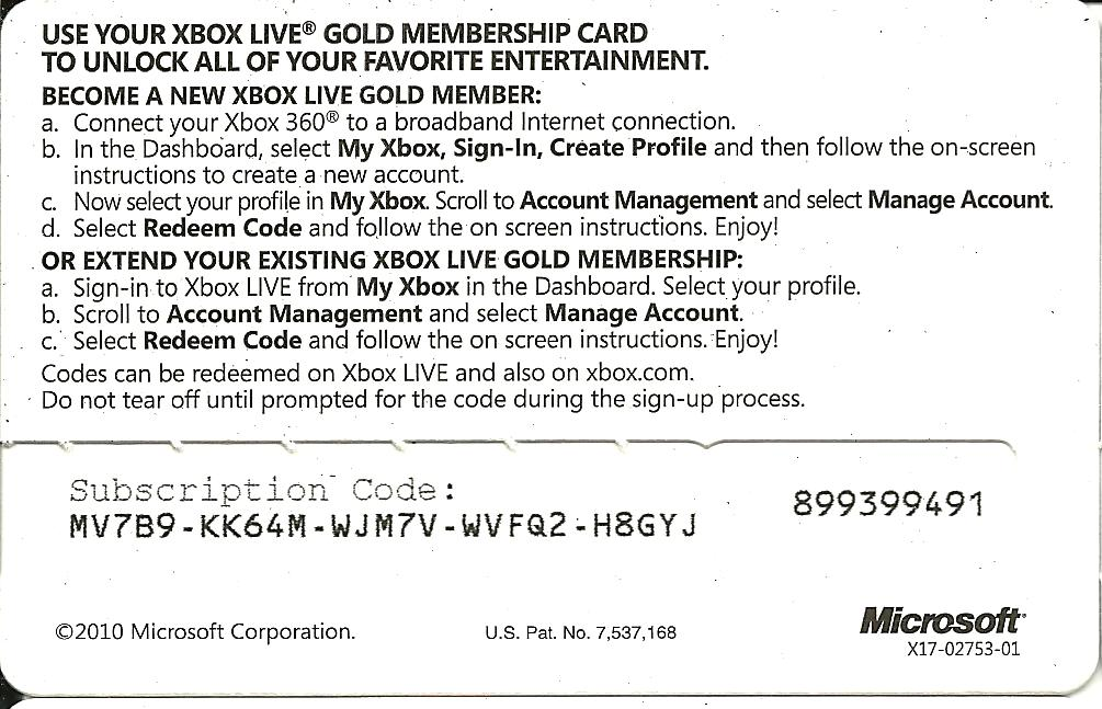Xbox Gold Code Example - DL-Central.Net
