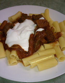 Crockpot Goulash over Gluten Free Pasta